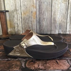 Fitflop Gold Shimmery Thongs